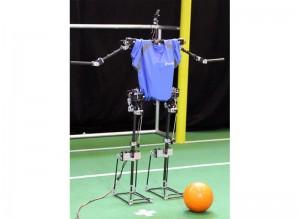 De tweebenige robot 'Sweaty' van de Hochschule Offenburg is momenteel op training stage voor de RoboCup