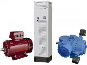 De bijdrage van Emerson aan het koelsysteem: permanentmagneet synchrone motor, frequentieregelaar en koelcompressor.