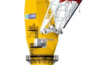 De 800mt PMC is tot op heden de grootste, door Huisman geconstrueerde Pedestal Mounted Kraan (lastmoment 30.000 tonmeter) en zal ingezet worden voor de installatie van windturbines op zee. (foto: Huisman)