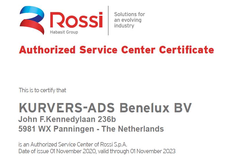 Rossi Benelux Kurvers certificaat